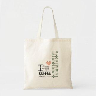 Mido mi vida en cucharitas de café bolsa tela barata
