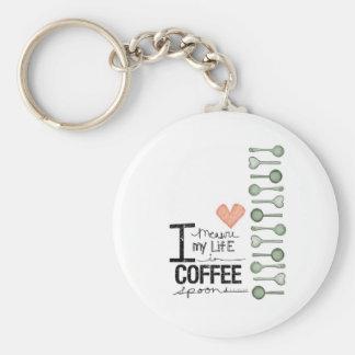 Mido mi vida en cucharitas de café llavero redondo tipo pin