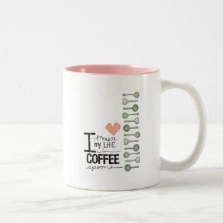 Mido mi vida en cucharitas de café taza de dos tonos