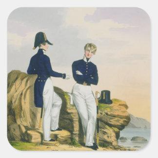 Midshipmen, plate 3 from 'Costume of the Royal Nav Square Sticker
