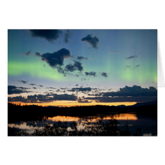 Midsummer Aurora borealis over Lake Laberge, Yukon Card