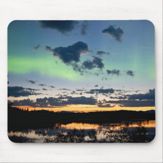 Midsummer Aurora borealis over Lake Laberge, Yukon Mouse Pad
