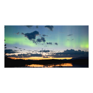 Midsummer Aurora borealis over Lake Laberge, Yukon Picture Card