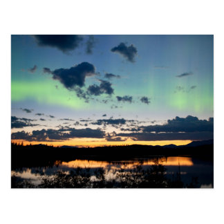 Midsummer Aurora borealis over Lake Laberge, Yukon Post Card