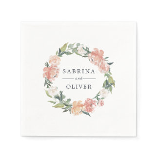 Midsummer Floral | Botanical Personalized Wedding Napkin