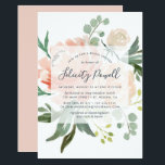 "Midsummer Floral Bridal Shower Invitation<br><div class=""desc"">Elegant and modern floral bridal shower invitation features a bouquet of soft pastel watercolor peonies in shades of blush pink, peach and cream, with lush green botanical leaves and eucalyptus. Your bridal shower details are overlaid on a sheer white element in elegant smoky blue lettering accented with handwritten style calligraphy....</div>"