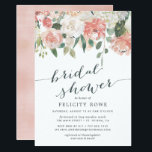 "Midsummer Floral | Bridal Shower Invitation<br><div class=""desc"">Elegant and modern floral bridal shower invitation features a bouquet of soft pastel watercolor roses,  peonies and hydrangeas in shades of blush pink,  peach and cream,  with lush green botanical leaves and eucalyptus. Personalize with your bridal shower details in elegant smoky blue lettering accented with handwritten style calligraphy.</div>"
