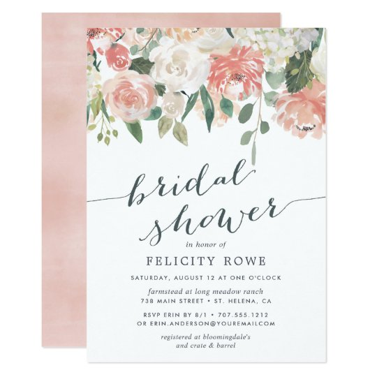 Midsummer Floral Bridal Shower Invitation Zazzlecom