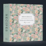 """Midsummer Floral Bridal Shower Recipe 3 Ring Binder<br><div class=""""desc"""">Collect recipes for the bride to be and organize them in this pretty patterned binder with tons of personalization options! Chic floral binder features a pattern of watercolor peonies and roses in blush pink, peach and cream on a soft sage green background. Customize the front with the bride to be&#39;s...</div>"""