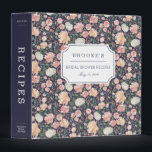 """Midsummer Floral Bridal Shower Recipe Binder<br><div class=""""desc"""">Collect recipes for the bride to be and organize them in this pretty patterned binder with tons of personalization options! Chic floral binder features a pattern of watercolor peonies and roses in blush pink, peach and cream on a dramatic midnight blue background. Customize the front with the bride to be&#39;s...</div>"""