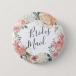 "Midsummer Floral Bridesmaid Button<br><div class=""desc"">Identify the key players at your bridal shower with our elegant,  sweetly chic floral buttons. Button features a watercolor floral wreath of peachy pink peonies,  white hydrangea flowers and botanical greenery with &quot;bridesmaid&quot; inscribed inside in hand lettered script.</div>"