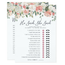 Midsummer Floral Double-Sided Bridal Shower Game Card
