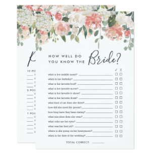 midsummer floral double sided bridal shower game invitation