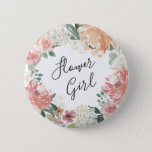 """Midsummer Floral Flower Girl Pinback Button<br><div class=""""desc"""">Identify the key players at your bridal shower with our elegant,  sweetly chic floral buttons. Button features a watercolor floral wreath of peachy pink peonies,  white hydrangea flowers and botanical greenery with &quot;flower girl&quot; inscribed inside in hand lettered script.</div>"""