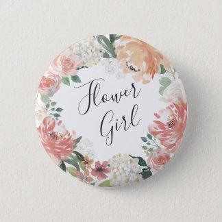 Midsummer Floral Flower Girl Pinback Button