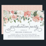 "Midsummer Floral Graduation Party Invitation<br><div class=""desc"">Modern watercolor floral graduation party invitation features a top border of roses,  peonies and eucalyptus in shades of blush pink,  peach,  cream and green. Personalize with your desired graduation party invitation wording using the template fields.</div>"