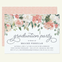 Midsummer Floral Graduation Party Invitation