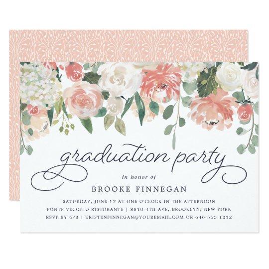midsummer floral graduation party invitation zazzle com