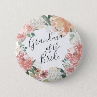 Midsummer Floral Grandma of the Bride Pinback Button