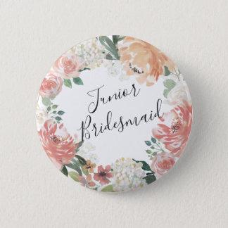 Midsummer Floral Junior Bridesmaid Pinback Button