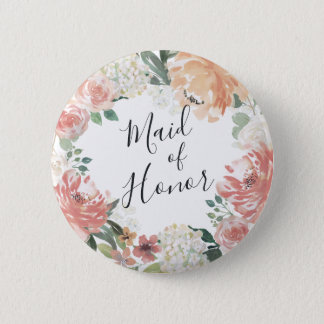 Midsummer Floral Maid of Honor Pinback Button