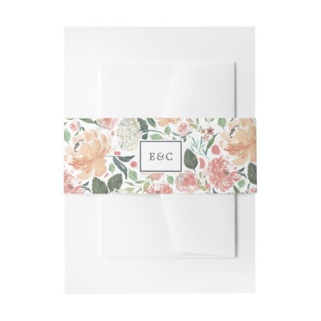 Midsummer Floral Monogram Invitation Belly Band