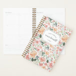 """Midsummer Floral Personalized Planner<br><div class=""""desc"""">Chic personalized planner features a background pattern of watercolor roses,  peonies and hydrangeas in pastel summer hues of blush,  ivory and peach. Personalize with three lines of custom text.</div>"""