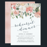 "Midsummer Floral | Rehearsal Dinner Invitation<br><div class=""desc"">Elegant and modern floral rehearsal dinner invitation features a bouquet of soft pastel watercolor roses,  peonies and hydrangeas in shades of blush pink,  peach and cream,  with lush green botanical leaves and eucalyptus. Personalize with your rehearsal dinner details in elegant smoky blue lettering accented with handwritten style calligraphy.</div>"