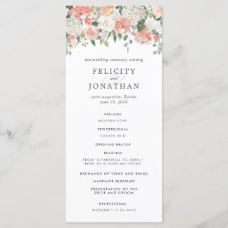 Midsummer Floral Wedding Ceremony Program