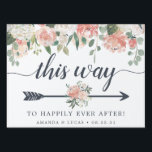 "Midsummer Floral | Wedding Directional Lawn Sign<br><div class=""desc"">Point wedding guests in the right direction with this charming floral directional sign. Design features ""this way to happily ever after"" in smoky blue-gray lettering with an arrow illustration to direct your guests. Personalize with your names and wedding date at the bottom. Double sided design is adorned with pastel watercolor...</div>"