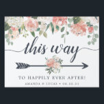 "Midsummer Floral | Wedding Directional Lawn Sign<br><div class=""desc"">Point wedding guests in the right direction with this charming floral directional sign. Design features &quot;this way to happily ever after&quot; in smoky blue-gray lettering with an arrow illustration to direct your guests. Personalize with your names and wedding date at the bottom. Double sided design is adorned with pastel watercolor...</div>"