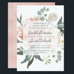 "Midsummer Floral Wedding Invitation<br><div class=""desc"">Elegant and modern floral wedding invitation features a background of peachy pink peonies accented with lush green botanicals and foliage. Your wedding details are overlaid on a sheer white element in elegant lettering accented with hand lettered script.</div>"