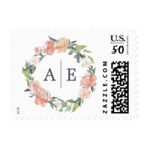Midsummer Floral Wedding Monogram Postage