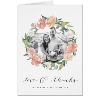 Midsummer Floral Wedding Photo Thank You Card