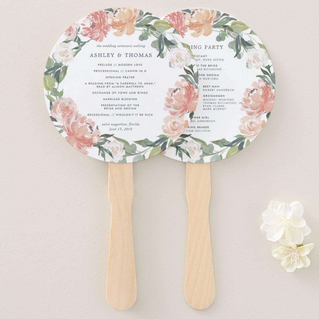 Midsummer Floral Wedding Program Hand Fan