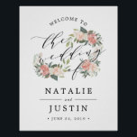 "Midsummer Floral Wedding Welcome Sign<br><div class=""desc"">Welcome guests to your wedding with our charming and elegant welcome poster or sign. Design features black typography, with &quot;welcome to the wedding of&quot; at the top in elegant handwritten calligraphy script embellished with summery blush pink peonies, ivory roses and lush greenery in watercolor. Personalize with your names and wedding...</div>"