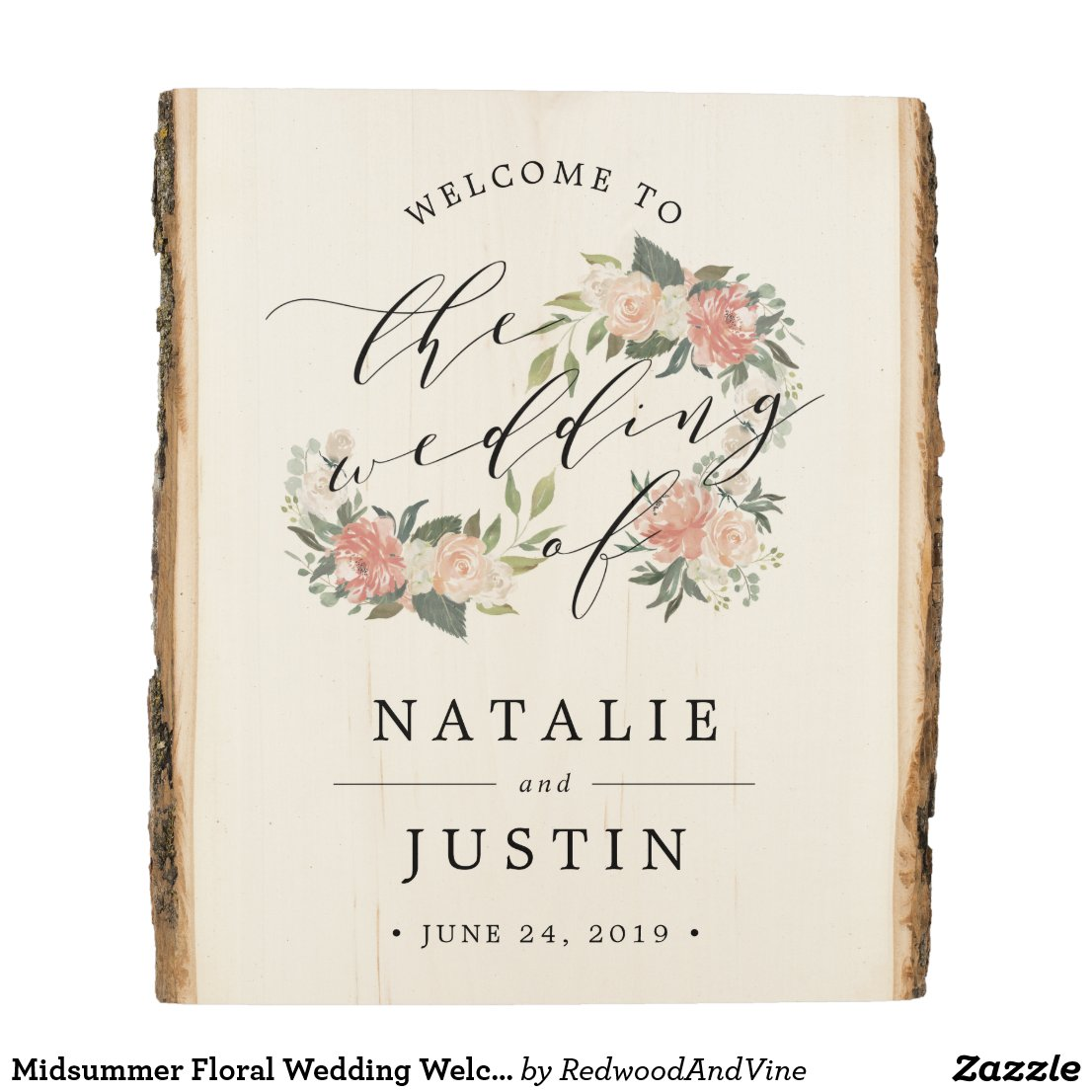 Midsummer Floral Wedding Welcome Wood Panel