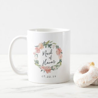 Midsummer Floral Wreath Maid of Honor Coffee Mug