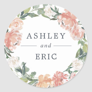 Midsummer Floral Wreath Wedding Classic Round Sticker