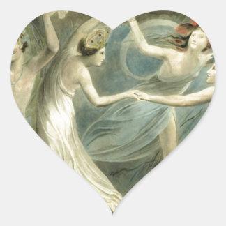 Midsummer Night's Dream by William Blake Heart Sticker