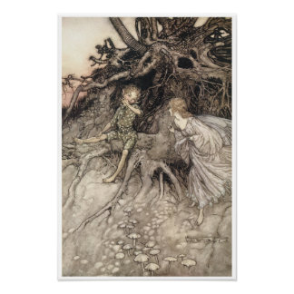 Midsummer Night's Dream Vintage Fairy Art Poster