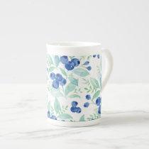 Midsummer Rustic Blueberry Berry Summer  Pattern Tea Cup