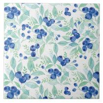 Midsummer Rustic Blueberry Berry Summer  Pattern Tile