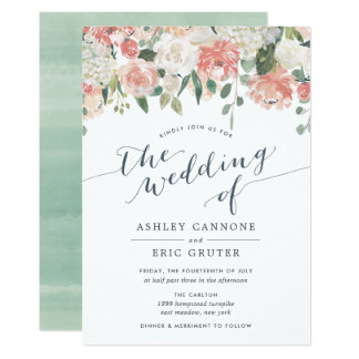 Midsummer Watercolor Fl Wedding Invitation