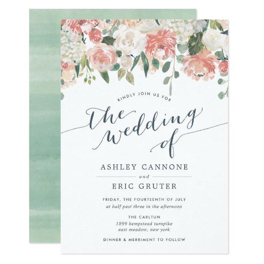Midsummer Watercolor Floral Wedding Invitation Zazzle Com