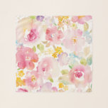 """Midsummer   Watercolor Pink Floral Scarf<br><div class=""""desc"""">This watercolor print features soft pink flowers   Danhui Nai</div>"""