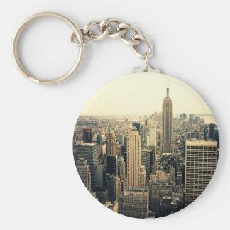 Midtown del horizonte de New York City Llavero Redondo Tipo Pin