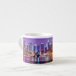 Midtown Manhattan at night with Empire Stae Espresso Cup