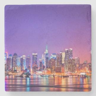 Midtown Manhattan at night with Empire Stae Stone Beverage Coaster