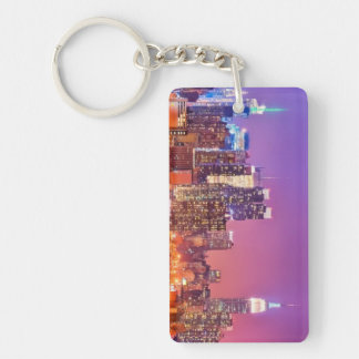 Midtown Manhattan at night with Empire Stae Double-Sided Rectangular Acrylic Keychain
